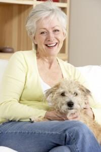 woman dog sofa - small